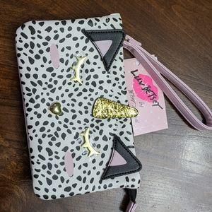 New Betsey Johnson Leopard Kitten/Unicorn Wristlet